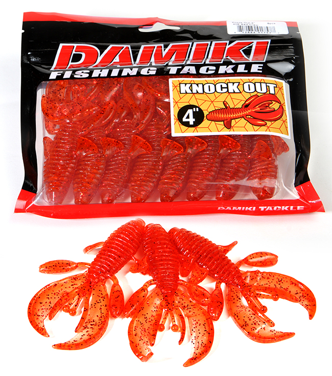 DAMIKI FISHING TACKLE - KNOCK OUT RED CRAW, Craw Trailer, Creature Bait